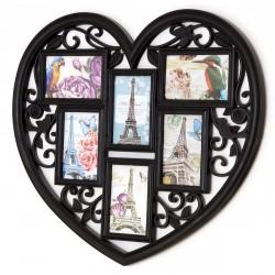 Ramka na zdjęcia serce FAMILY czarna 6 zdjęć